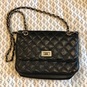 Handbags - Black Purse with Golden Accents